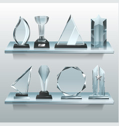 collections of transparent trophies awards and vector image
