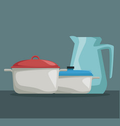 color poster of set pots with lind and glass jar vector image