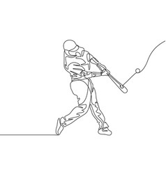continuous line baseball player batter hit the vector image