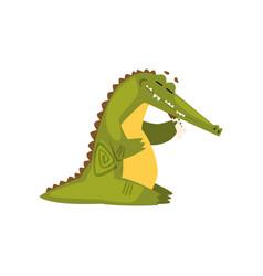 crocodile eating meat funny predator cartoon vector image
