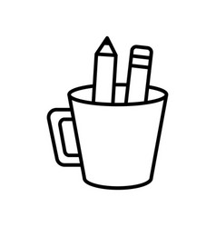 Cup with pencils supplies icon thick line vector