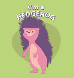 cute cartoon style hedgehog with title above on vector image