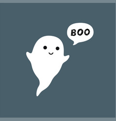 Cute little flying ghost with white speech bubble vector