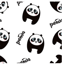 Cute little panda pattern vector