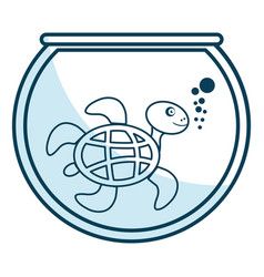 cute turtle character in aquarium vector image