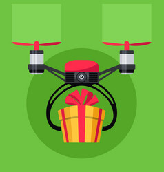 Drone with gift box drone delivery present vector