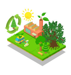 Eco place concept banner isometric style vector