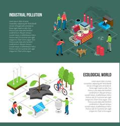 ecology isometric horizontal banners vector image