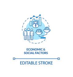 Economic and social factors concept icon vector
