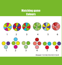 Educational children game match by color vector
