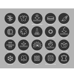 Fabric feature line icons set vector