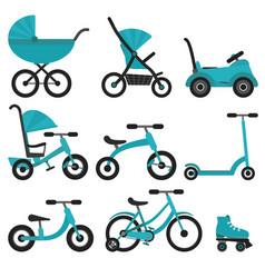 Flat bright blue baby transport set vector