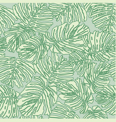 Floral seamless pattern palm leaves background vector