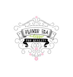 flower tea vintage stylized lettering badge vector image