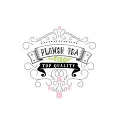 flower tea vintage stylized lettering badge vector image