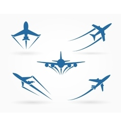 Flying up airplane icons vector