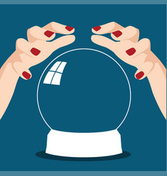 Fortune teller hands with crystal ball vector