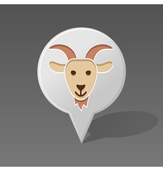 Goat pin map icon Animal head vector image vector image