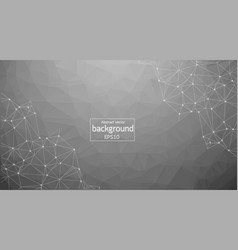 grey abstract network mesh on black background vector image