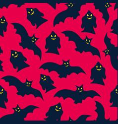 Halloween seamless pattern ghosts bats vector