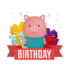 happy birthday card with cute piggy vector image