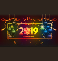 happy new year 2019 gold and black colors place vector image