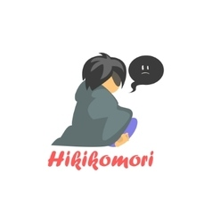 Hikimori Cartoon Style Icon vector