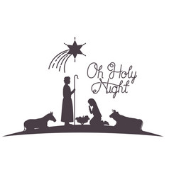 Holy family and animals manger silhouettes vector