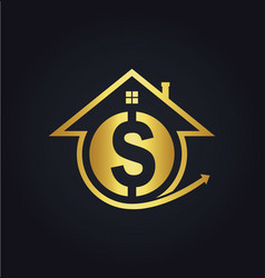 House sale money gold logo vector