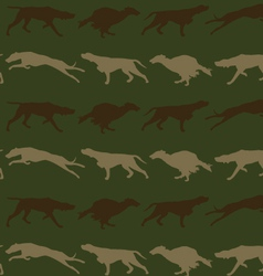 Hunting dogs seamless background in camouflage vector
