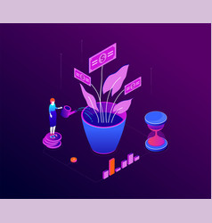 investment concept - modern colorful isometric vector image
