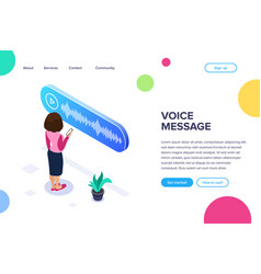 isometric voice message concept woman listens to vector image