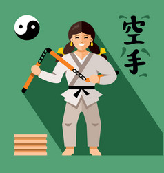 Karate fighter with weapon flat style vector