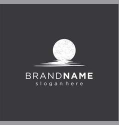 Lunar logo with silhouette moon shadow on water vector
