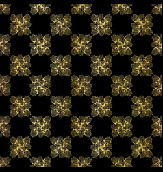 Luxe gold black chess board style pattern vector