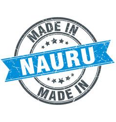 Made in nauru blue round vintage stamp vector