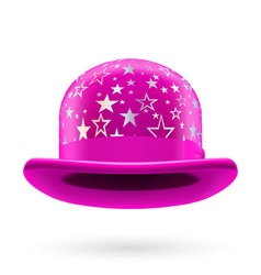 Magenta starred bowler hat vector image