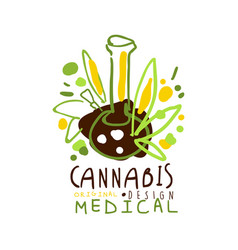 Medical cannabis label original design logo vector