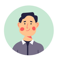 Middle aged male character portrait in circle vector