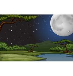 Nature scene on fullmoon night vector