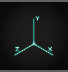 Neon coordinate axis icon in line style vector