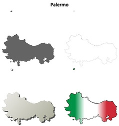 Palermo blank detailed outline map set vector