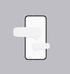 Phone messages template white screen of vector