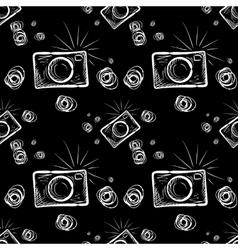 Photo camera on chalkboard background vector