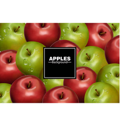 realistic apples background red and green vector image