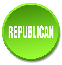 Republican green round flat isolated push button vector