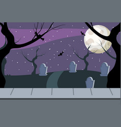 Rip stones cemetery and full moon vector
