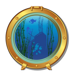 round porthole of a submarine with views of the vector image