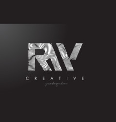 rw r w letter logo with zebra lines texture vector image