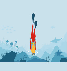 scuba diver underwater world girl dive on a vector image